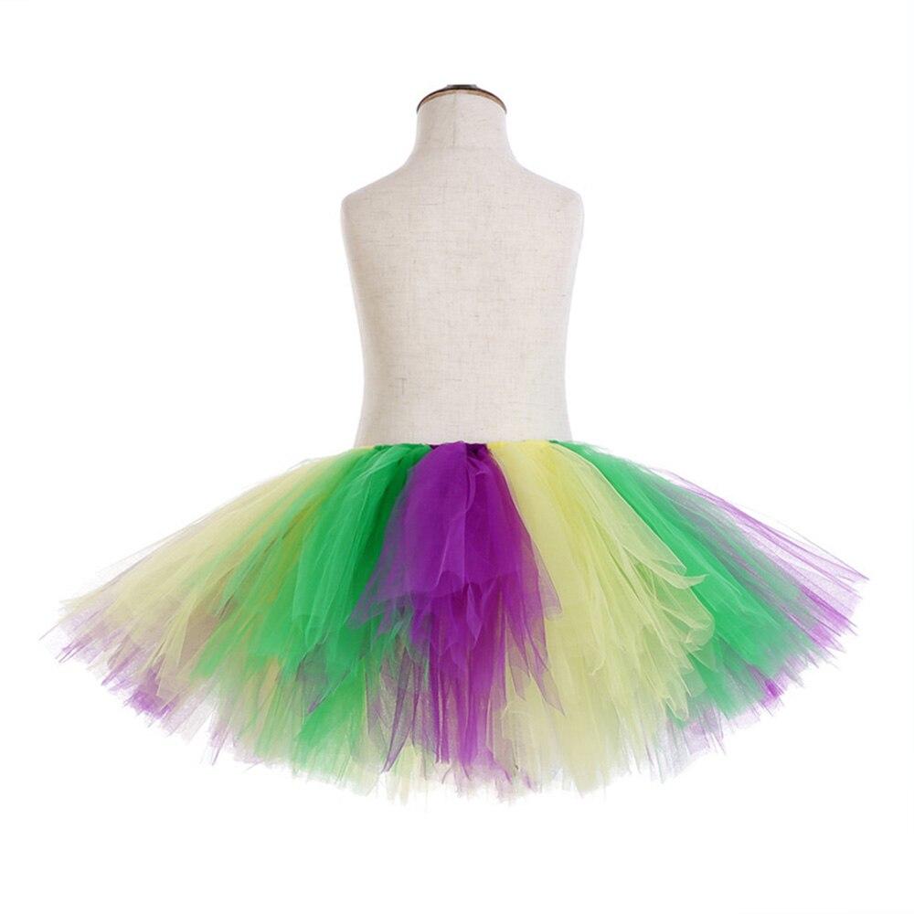 Rainbow Skirt Knee Length Nylon Mesh Tulle Skirt Kids Back to School Costume Happy Easter Party Tutu Skirt with Ribbon Bowknot (13)