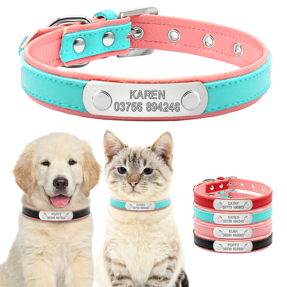 Personalized Dog Collars Dog Adjustable Padded Customized ID Pet Nama Kolar Ukiran Percuma Untuk Small Medium Large Dogs Kucing
