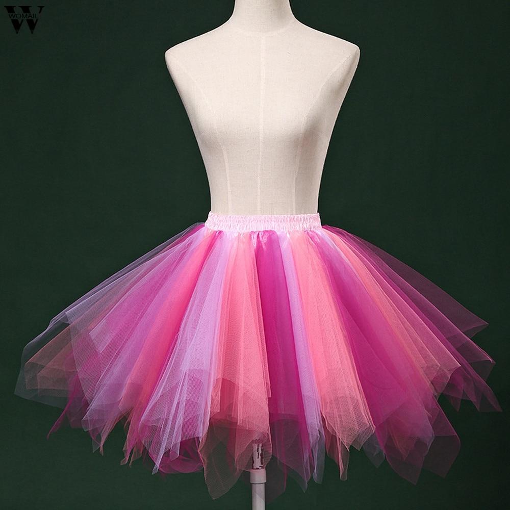 7 Colors Womens Ladies High Quality Pleated Gauze Short Skirt Adult Tutu For Wedding Bridal Retro Vintage Women Gown  Jan25