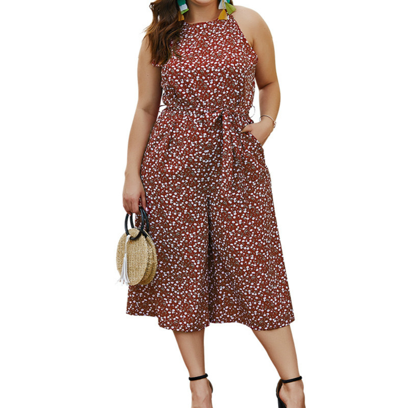 Summer Women   Jumpsuit   2019 Print   Jumpsuit   Polka-dot Elegant Women's Large Size Long   Jumpsuits   &rompers Bodysuit Overalls Womens