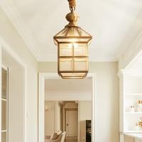 Полный Медный кулон фонари бытовой в прихожей Прихожая солнечный светильник Открытый небольшой кулон лампы LU8231819