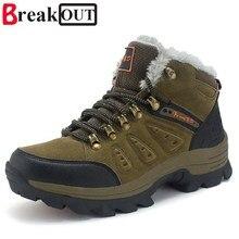 Break Out New Homens Botas para Homens Botas de Neve de Inverno Quente Fur & Plush Lace Up High Top Homens Sapatos Da Moda 45 46 47