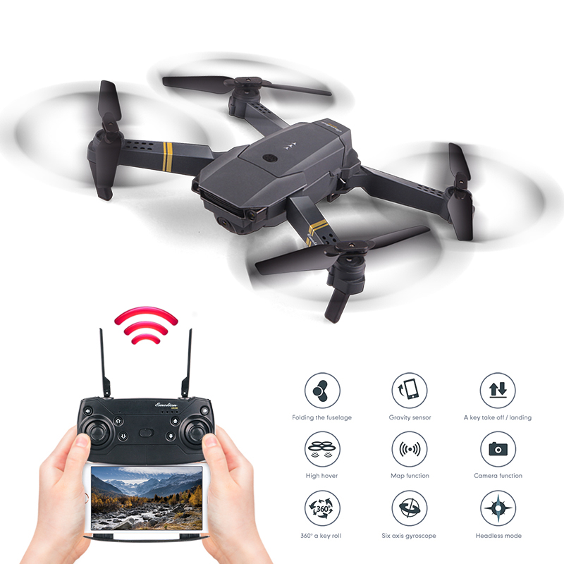Plegable Mini altitud alta Selfie Drone WIFI FPV HD Cámara gran angular plegable RC Quadcopter Headless helicóptero VS E58 h47