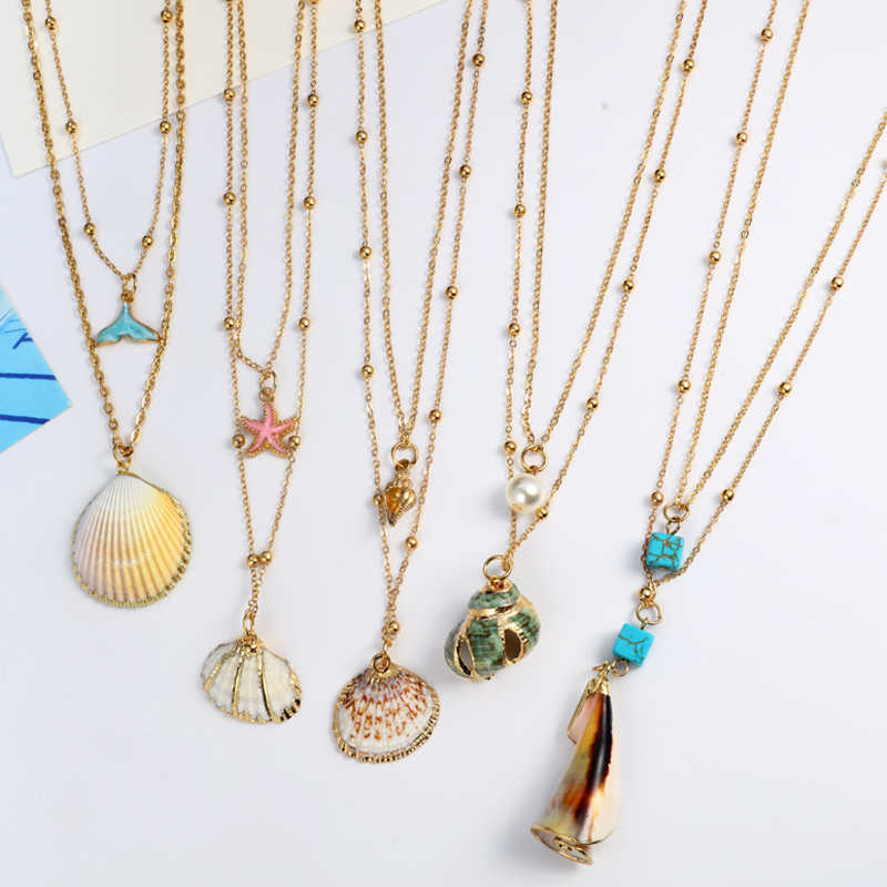 ZOSHI Multi layer Shell Necklaces & Pendants For Women Vintage Charm Gold Choker Necklace 2019 Bohemian Summer Beach Jewelry