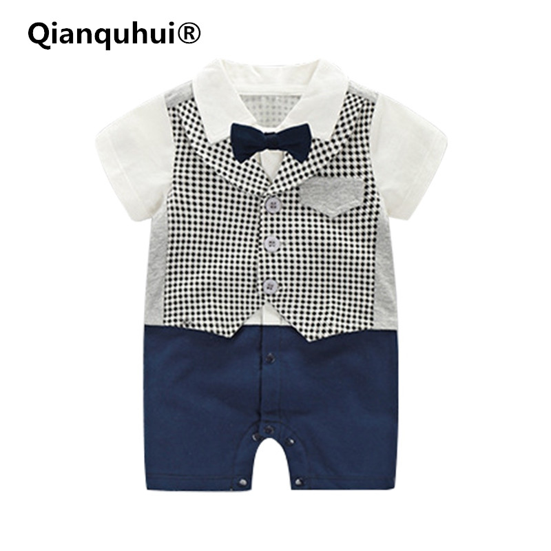 New Baby Boy Rompers Cotton Tie Gentleman Suit Bow Leisure Body Suit Clothing Toddler Jumpsuit Baby Boys Brand Clothes Hot Sale newborn baby girls rompers 100% cotton long sleeve angel wings leisure body suit clothing toddler jumpsuit infant boys clothes