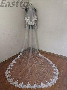 Image 3 - Echte Foto Wit/Ivoor Hoge Kwaliteit 2 T Lace Edge 3M Kathedraal Bruiloft Sluier Met Kam Bridal Veils accessoires Velos De Novia