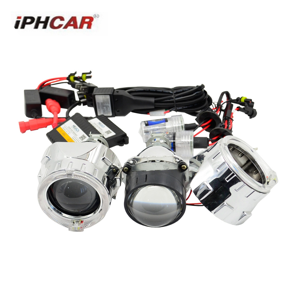 2.5 hid bixenon projector lens car assembly kit Ac xenon kit DRL day running round angel eyes hearlight H1 H4 H7 2 5inch bixenon projector lens light double angel eyes drl hid xenon kit xenon bulb ballast fit for h1 h4 h7 car headlight