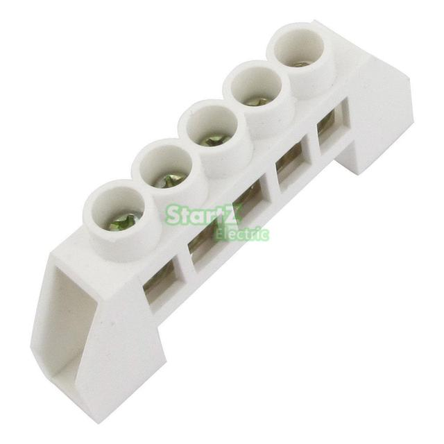 US $3 24 |3PCS White Bridge Design Zero Line 5Position Copper Grounding  Strip Terminal Block Connector-in Terminal Blocks from Home Improvement on