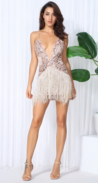 Beige Sequin Fringe Dress Gong Out Sexy Midi Sleeveless Plunge