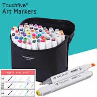Touchfive 30406080 colores doble cabeza arte rotuladores bolígrafo alcohol boceto marcador brocha pluma arte suministros para dibujos animados Manga
