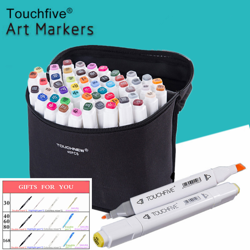 Touchfive 30406080Colors Dual Head Art Markers Pen Oily Alcoholic Sketch Marker Brush Pen Art Supplies For Animation Manga Draw