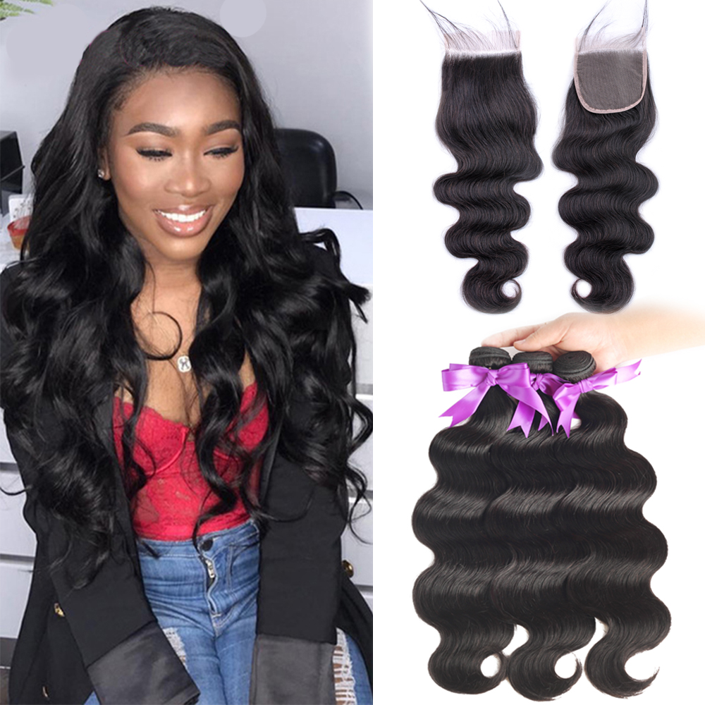 BEAUDIVA Hair 3 Bundles Peruvian Body Wave With Transparent lace Closure Double Weft Remy Human Hair Bundles With Closure