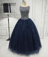 Navy Blue Quinceanera Dresses For 15 Years Backless Beaded Tulle Ball Gown Vestidos De 15 Anos