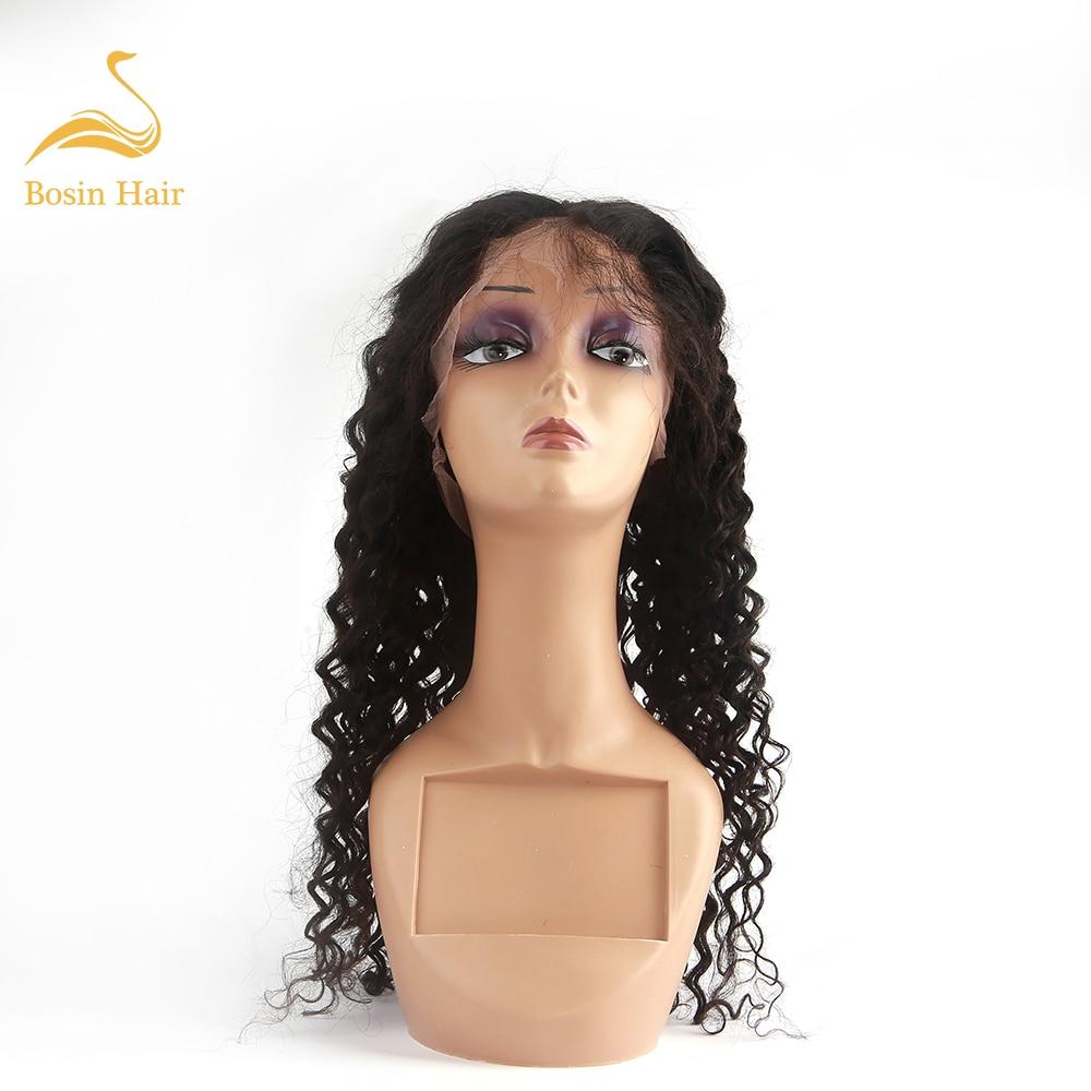 Bosin Natural Black Brazilian Remy Human Hair Full Lace Wig Deep Wave Human Hair Wig