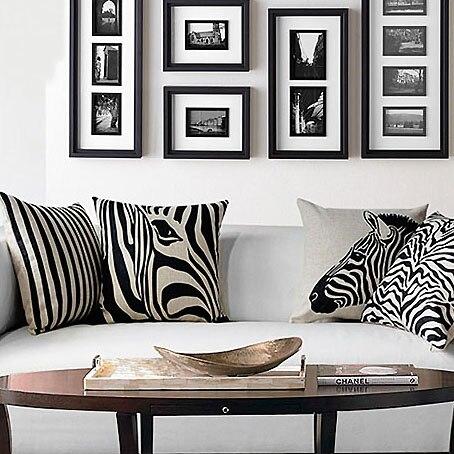 ᗕModerno simple negro y blanco cebra impresa Almohadas caso