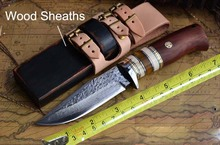 Savage Damascus Survival Knives Flowing Tactical Knife Camping Hunting Knife Fixed Blade Wood and Leather Sheaths