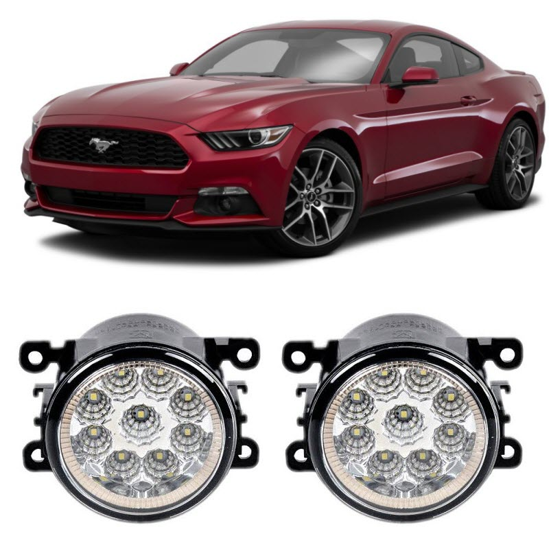 EEMRKE Car Styling For Ford Mustang 2015 2016 9-Pieces Leds Fog Lights H11 H8 12V 55W LED Fog Head Lamp car styling for dacia renault sandero 2010 2016 9 pieces leds chips led fog light lamp h11 h8 12v 55w halogen fog lights