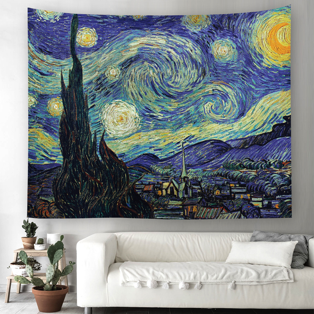 The World Famous Paintings Van Gogh Starry Sky Wall Hanging Tapestry 86X140cm Medieval Jacauard Fabric Home Textile
