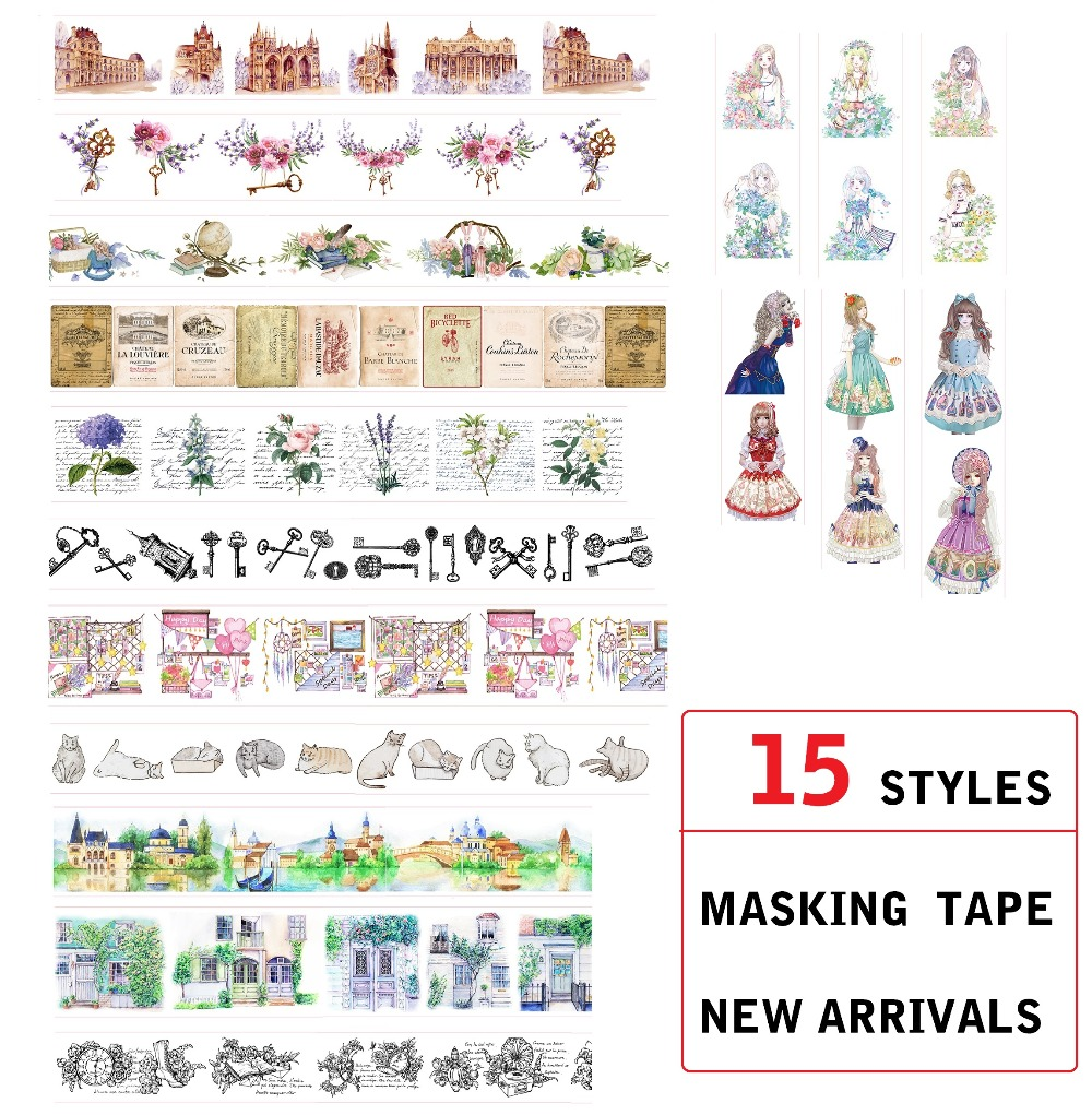 15 Style House/Flowers/Letter/Girls/Cat/Castle Japanese Washi Tape Decorative Adhesive DIY Masking Paper Tape Label Sticker Gift