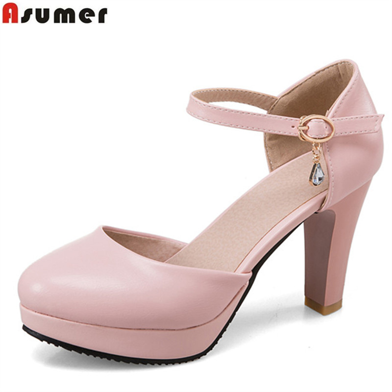 Asumer 2018 fashion new arrive women pumps solid buckle spring autumn wedding shoes round toe elegant ladies high heels shoes asumer gold silvery fashion square toe buckle ladies single shoes spring autumn women high heels shoes big size 32 44