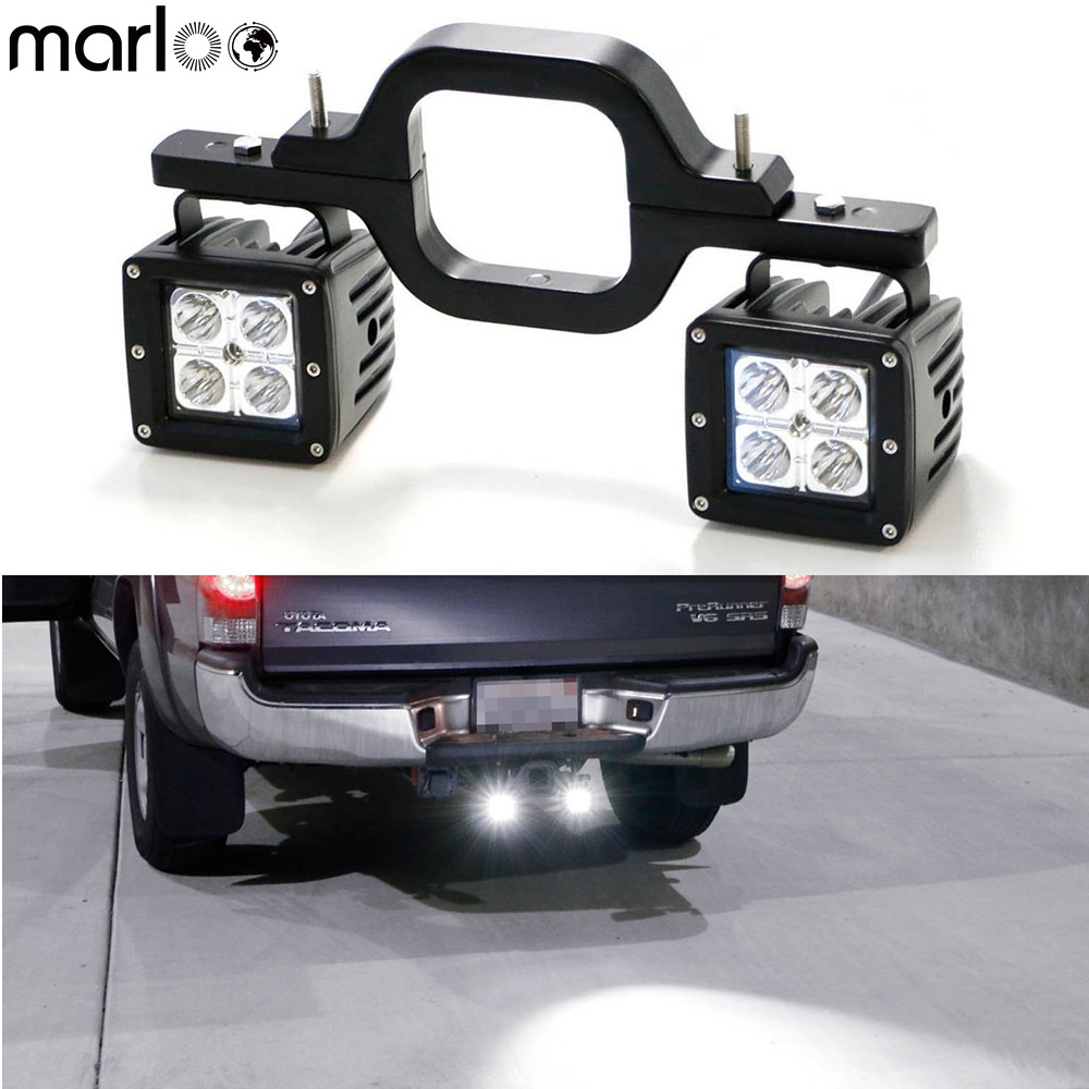 Marloo Tow Hitch Mount 3X3 16W LED Pod Backup Reverse Lights Rear Search Lighting Off-Road Work Lamps For Truck SUV Trailer RV цена