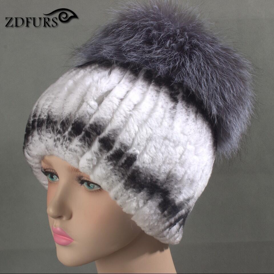 Glaforny 2017 New Women Rex Rabbit Fur Hats with Silver Fox Fur Top - Apparel Accessories - Photo 6