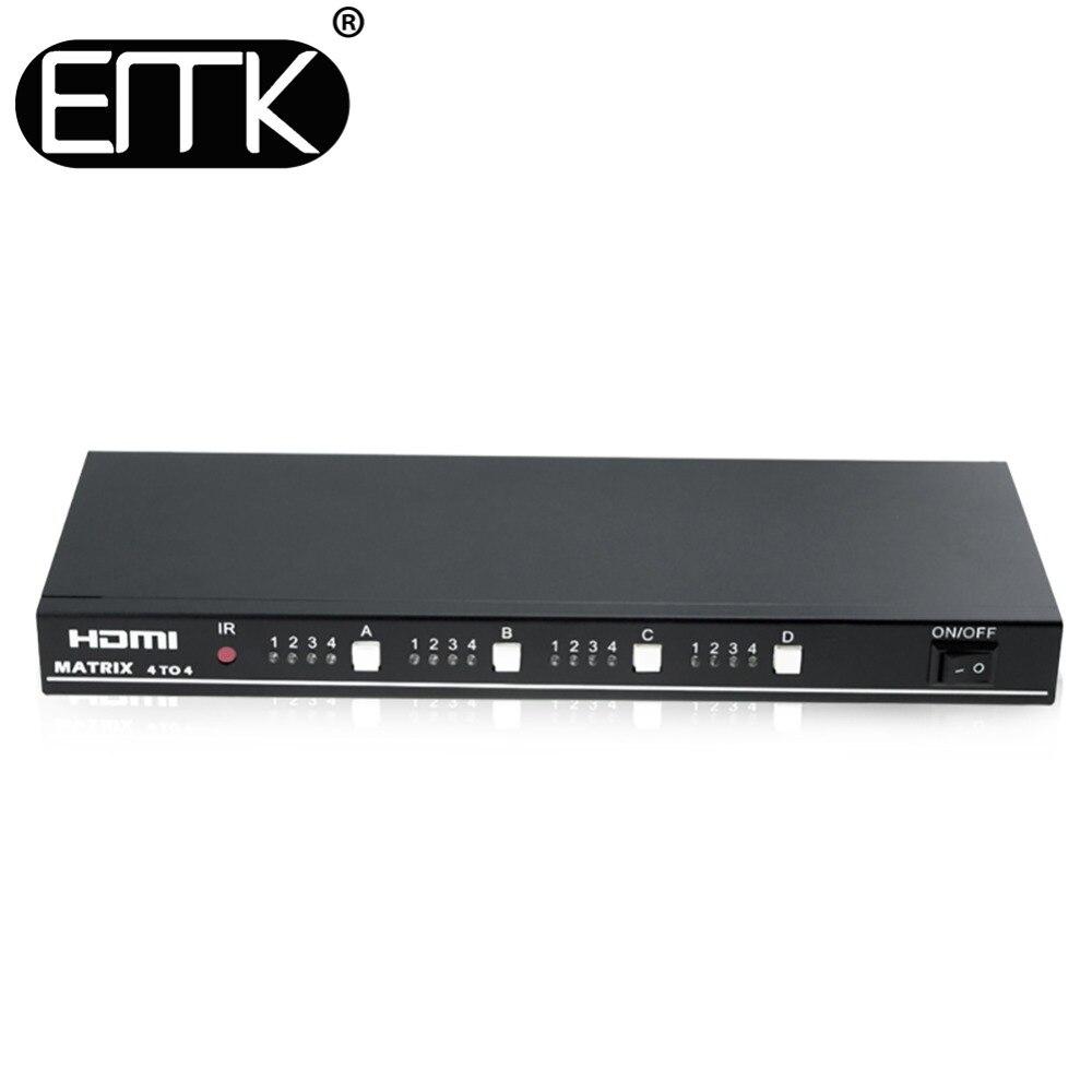 EMK 4x4 HDMI True TV Matrix 4 entrée 4 sortie commutateur séparateur 1.3b prise en charge 1920x1080 60Hz contrôle à travers RS232 ou IR télécommande