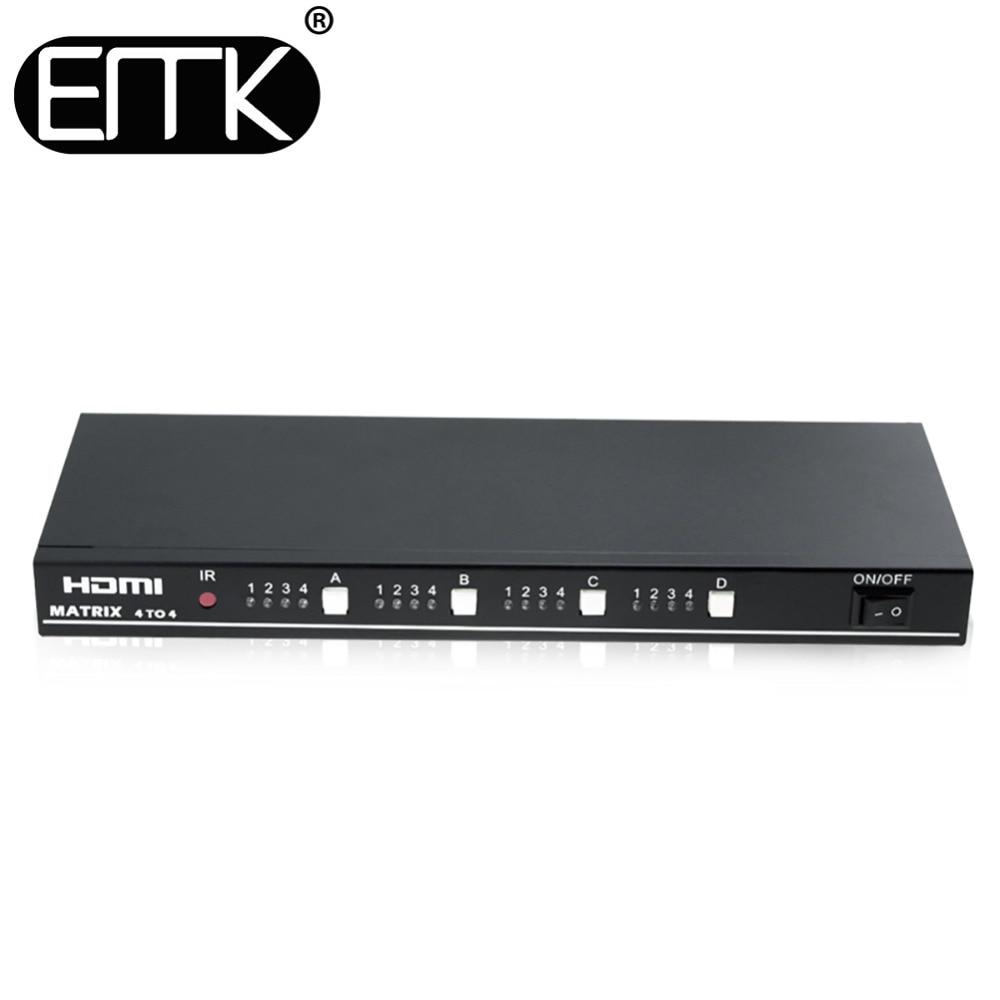 EMK 4x4 HDMI True TV Matrix 4 input 4 output Switch Splitter 1.3b support 1920x1080 60Hz control through RS232 or IR remote цена