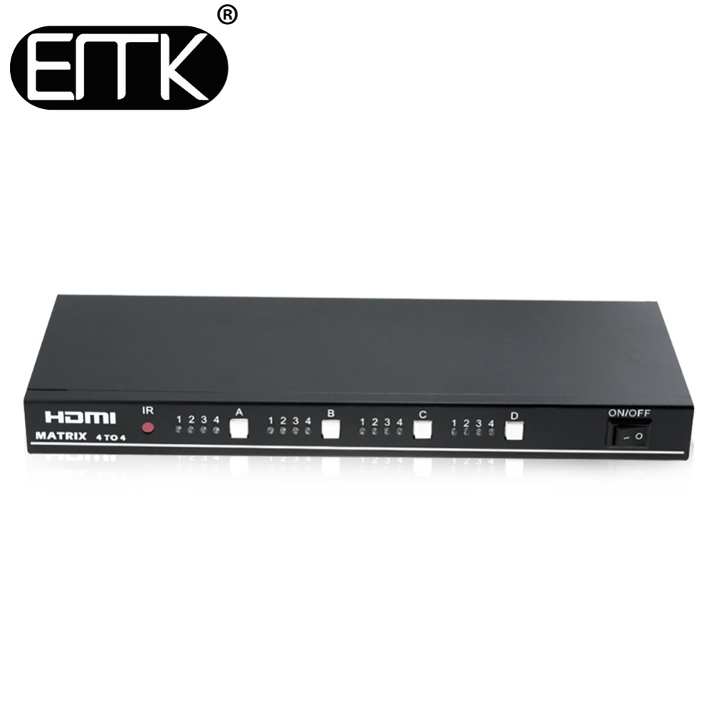 EMK 4x4 HDMI Vrai TV Matrice 4 entrée 4 sortie Commutateur Splitter 1.3b soutien 1920x1080 60 hz contrôle à travers RS232 ou IR à distance