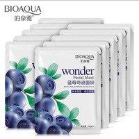 10pcs BIOAQUA Makeup Face Masks Mask Blueberry Wonder Silk Facial Mask Moisturizing Whitening Oil Control Brightening