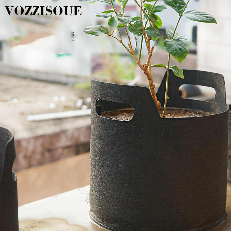 Fabric Grow Bags Black Felt Pots Garden