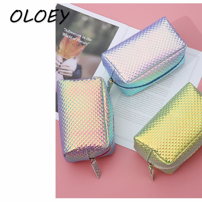 Women Laser Cosmetic Bag Mermaid Holographic Make Up Box Scale Student Pencil Case Toiletry Wash Box PU Clutch