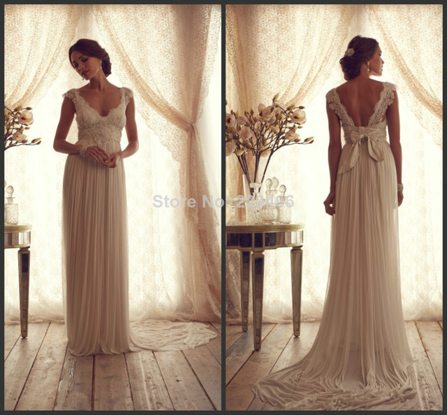 Sweetheart Neckline Chiffon Low Back Sexy Long Bow Back Lace ...