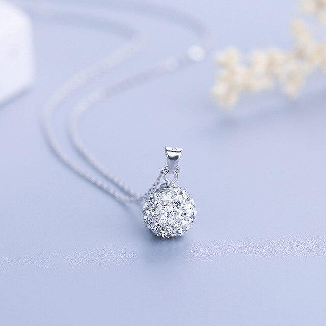 925 Sterling argent femmes pendentifs exquis blanc doré 10mm Ball S925 collier pendentifs pour dame cou porte sans chaîne