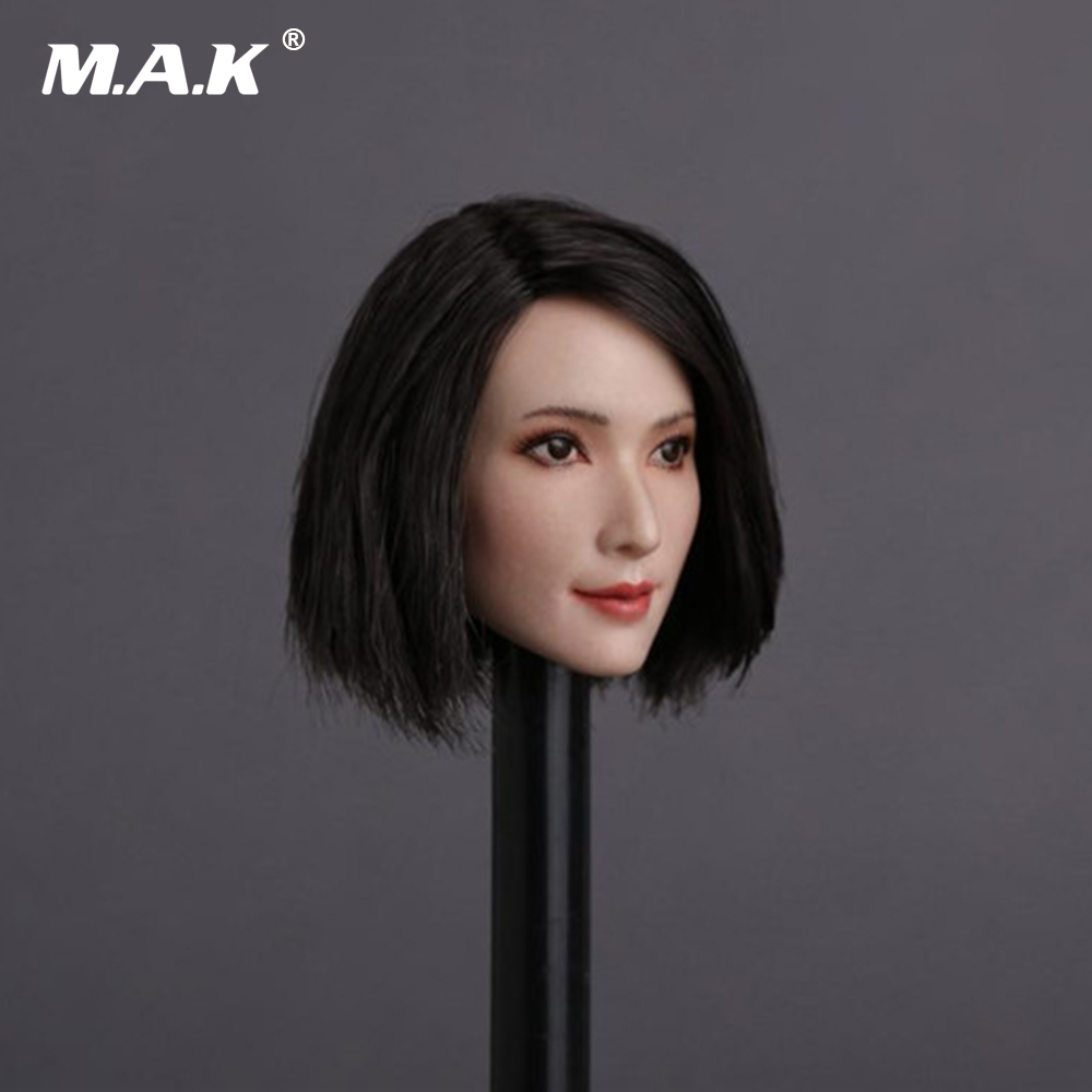 3 styles 1/6 Scale Asia Star Black Short Hair Beautiful Head Carving Model Fit 12 Female pale Color Action Figure Doll Body 1 6 scale asia beautiful gird head sculpt black short hair head