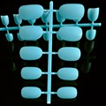 24 pieces Nails Oval Shape Light Blue Shiny Surface Artificial False Nail Tips Middle Size R26-125X
