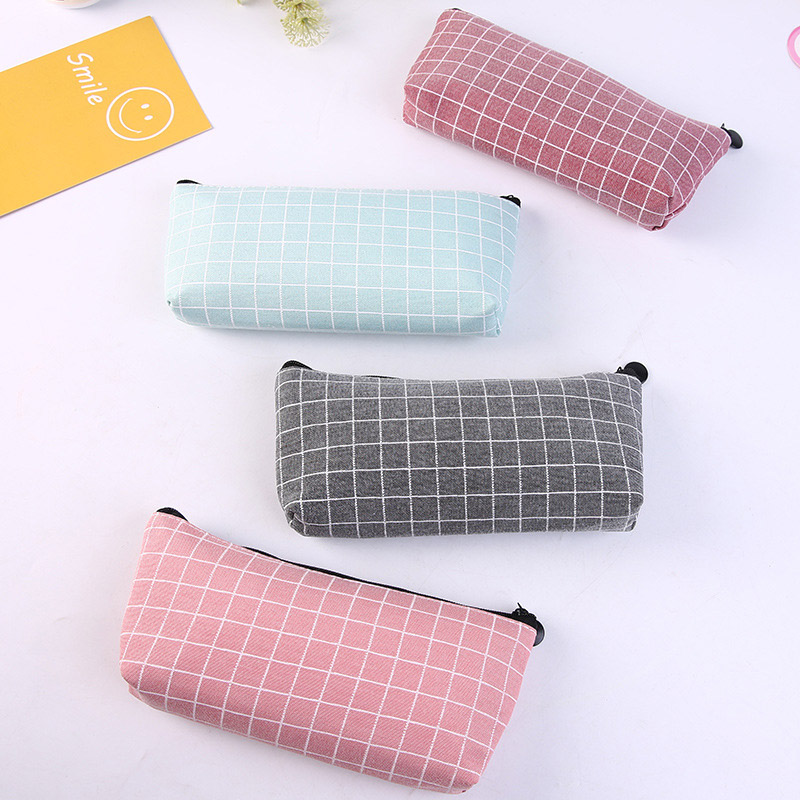 Grid Pencil Case Cute Concise Solid Color Canvas Pencil Bag Creative Pencilcase For Gifts School Supplies Kawaii Stationery