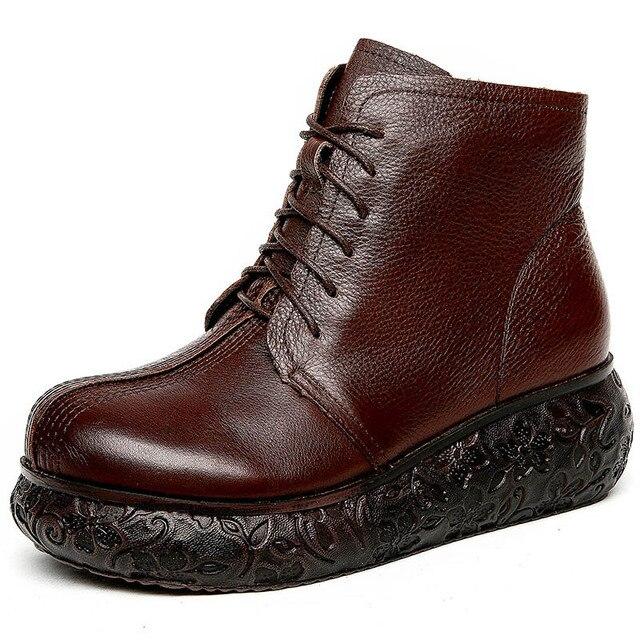 Çizmeler kadın sonbahar ve kış yeni, deri patik iç artı kadife sıcak yan fermuarlı retro düz Martin çizmeler