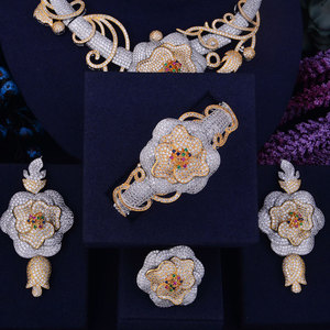 Image 4 - GODKI Luxury Flower Boom Women Nigerian Bridal Naija Bride Cubic Zirconia Necklace Dubai 4PCS Jewelry Set Jewellery Addiction