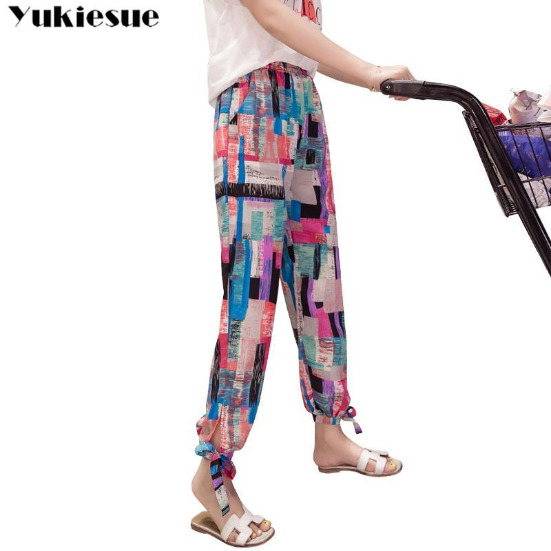 streetwear beach print women's   pants     capris   with high waist chiffon harem   pants   for women trousers woman   pants   female Plus size