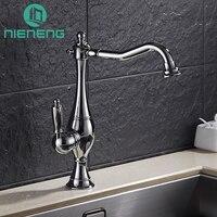 Nieneng Kitchen Faucets 360 Swivel Brass Mixer Tap Bathroom Basin Mixer Hot Cold Tap Antique Faucet