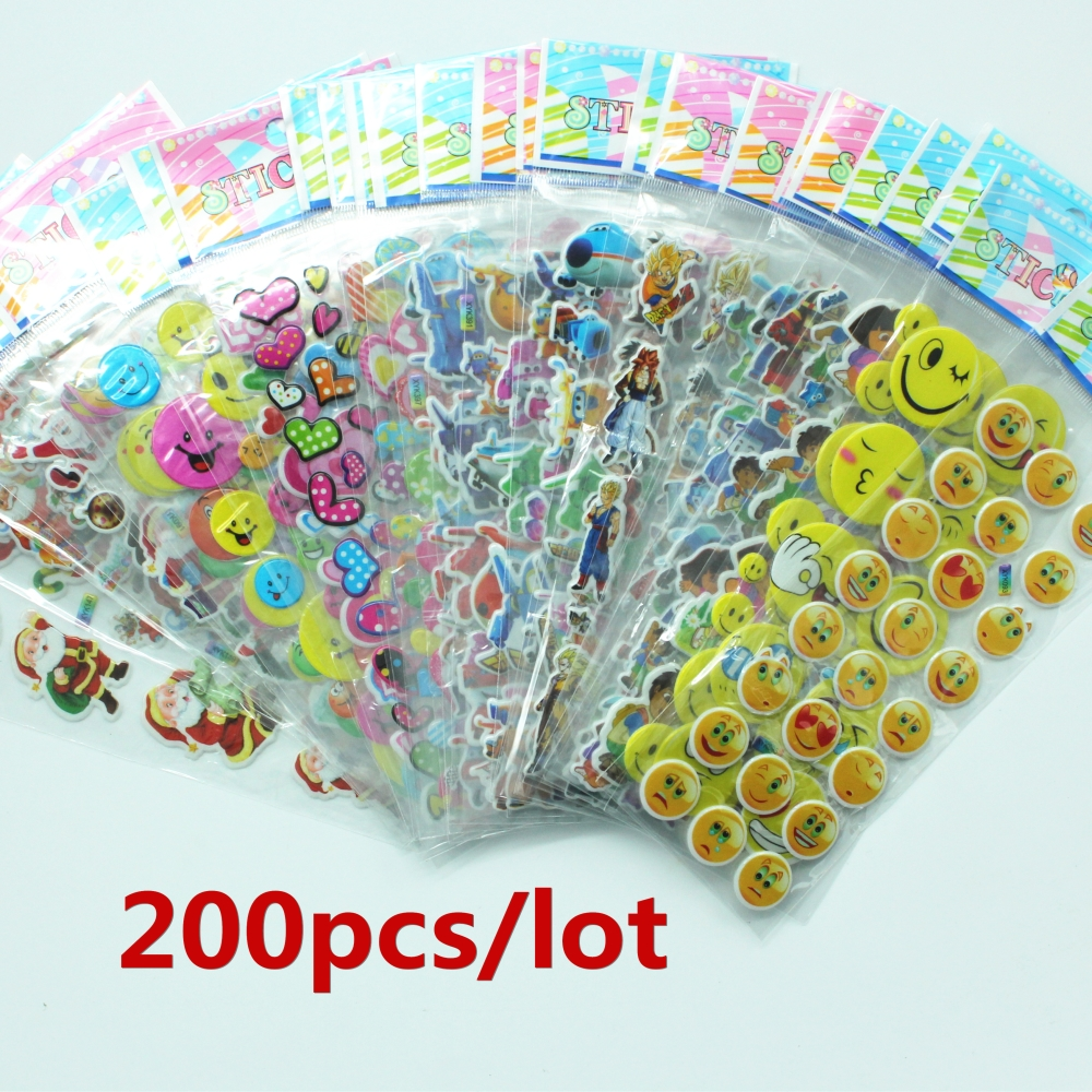 Bubble stickers 200 Sheets/Set Mixed 3D Foam Kids Cute Stickers Puffy Stickers Children DIY Toys Girls/Boys Birthday Gift