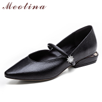 Meotina Genuine Leather Women Shoes Low Heels Mary Jane Shoes Crystal Female Pumps Pointed Toe Strange