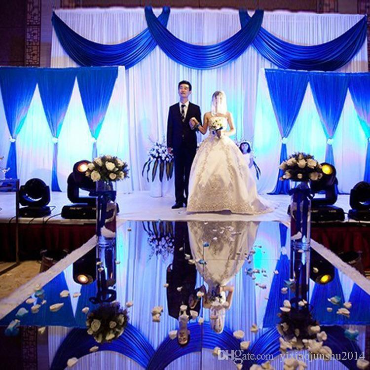 3pcslot 1pcs 43m2pcs 22m White And Blue Wedding Stage Backdrop
