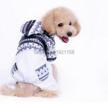 2016 Winter warm Pet Dog cotton clothes Puppy dog Jumpsuit Hoodie Snowflake pattern Apparel four legs
