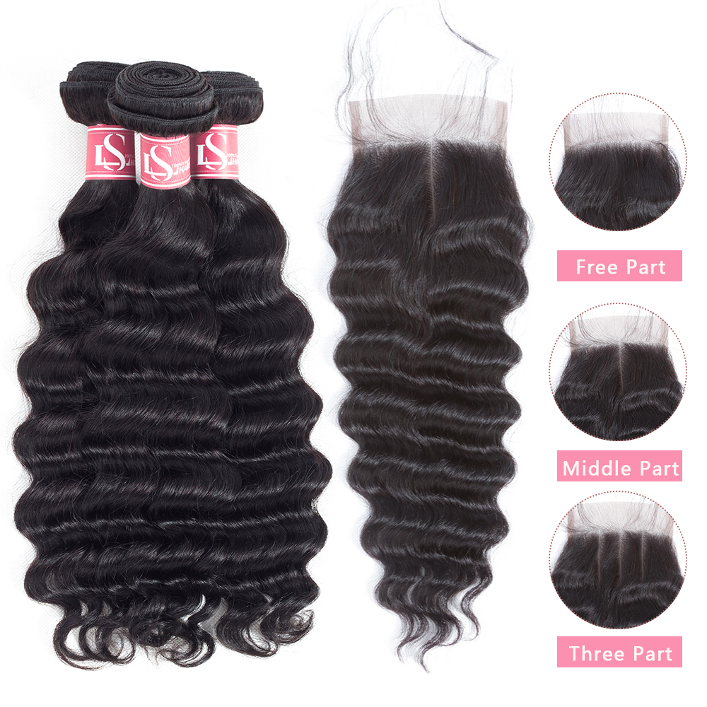 Mornice Hair Brazilian Loose Deep Wave Human Hair Bundles With - Menneskehår (sort)