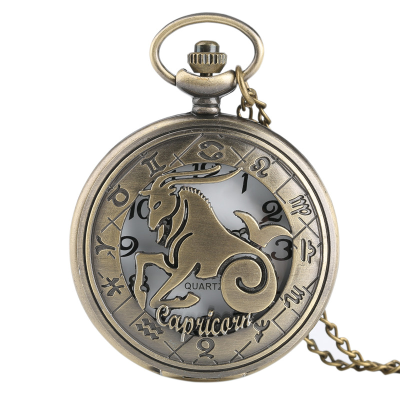 TIEDAN Retro Men's Pocket Watch Trendy Constellation Capricorn Pendant Chain Women Watches Necklace Zodiac Horoscope unique smooth case pocket watch mechanical automatic watches with pendant chain necklace men women gift relogio de bolso