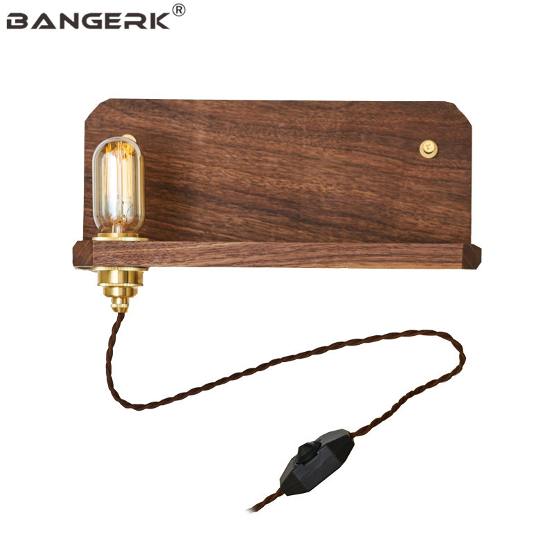 Nordic Design Dimming Switch Sconce Wall Lights LED Edison Vintage Bedside Wall Lamp Wood Brass Loft Home Decor Lighting