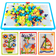 296pcs Puzzle DIY Mosaic Picture Puzzle Toy Children Composite Intellectual Educational Mushroom Nail Toys Mushroom Kit 3D(China)