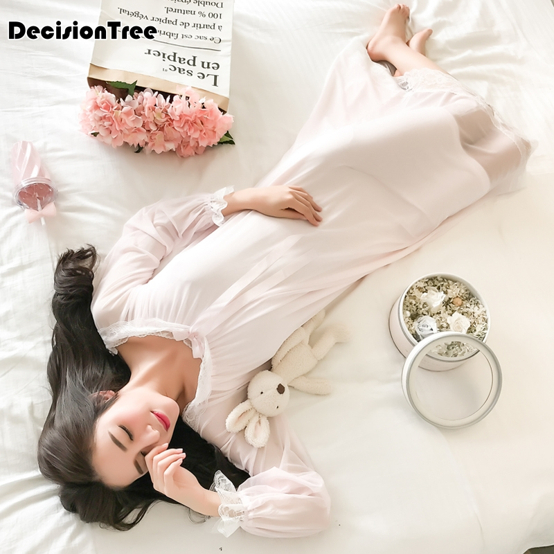 2019 new   nightgowns     sleepshirts   lace home dress sexy nightwear women sleepwear solid sleep & lounge vintage   nightgown   female